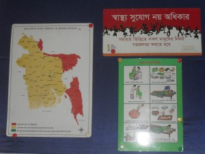 This map was on the wall of the health care center, showing the high risk areas of Malaria and educating women on maternal and child health issues through visual aid